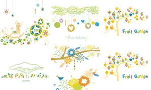 果树与蝴蝶气球等创意插画矢量素材