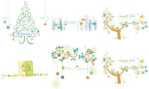 枝头上的圣诞球等插画创意矢量素材