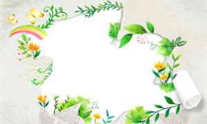 花草蝴蝶与卷起来的纸创意分层素材