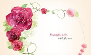 红色玫瑰花朵藤蔓边框创意分层素材