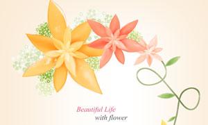 用花朵装饰的藤蔓创意设计分层素材