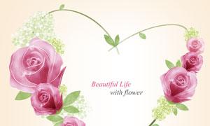 玫瑰花装饰的藤蔓边框设计分层素材