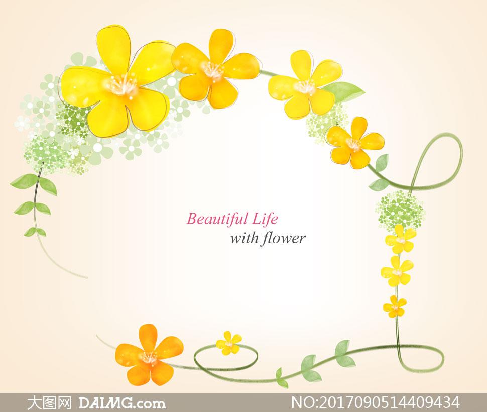 黄色小花藤蔓边框创意设计分层素材