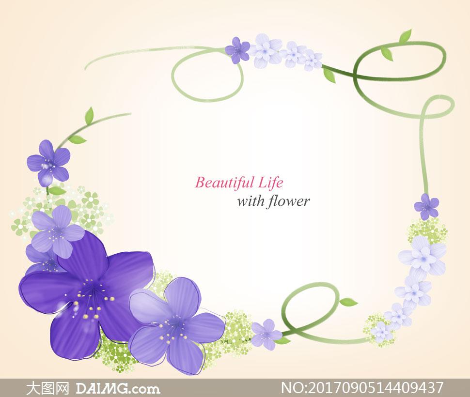 绿叶与紫色花装饰藤蔓边框分层素材
