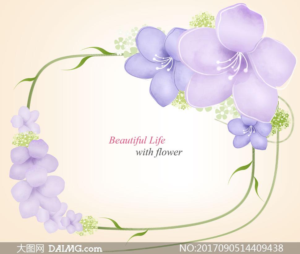 紫色花朵与藤蔓组成的边框分层素材