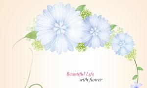 淡蓝色的花朵元素边框创意分层素材