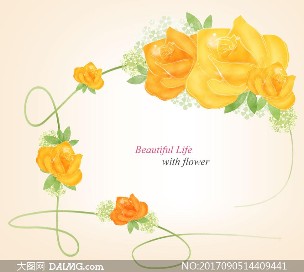 黄色玫瑰花朵藤蔓边框设计分层素材