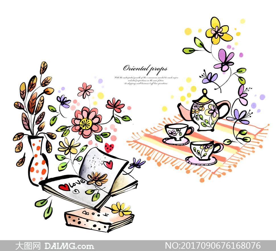 素材源文件设计素材创意设计手绘插画卡通茶壶茶杯书本花朵插花花瓶