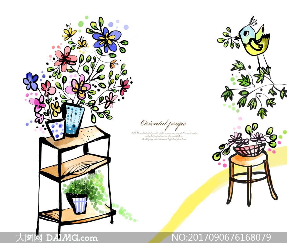 花盆与叼着树枝的小鸟创意分层素材