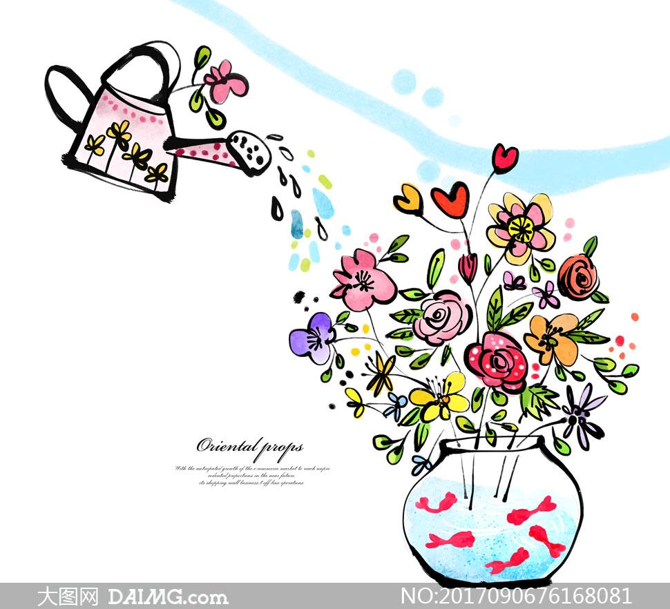 源文件设计素材创意设计手绘插画卡通鲜花花朵洒水壶插花花瓶金鱼心形