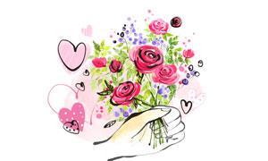 手绘风格握在手里的花创意分层素材