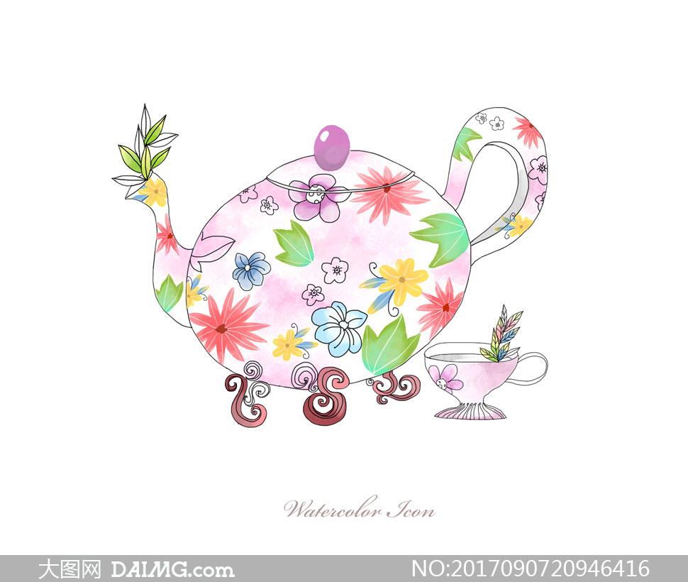 花纹图案装饰效果茶壶创意分层素材 - 大图网设计素材