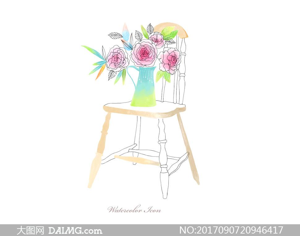 素材源文件设计素材创意设计手绘插画水彩花朵鲜花插花花瓶椅子线描