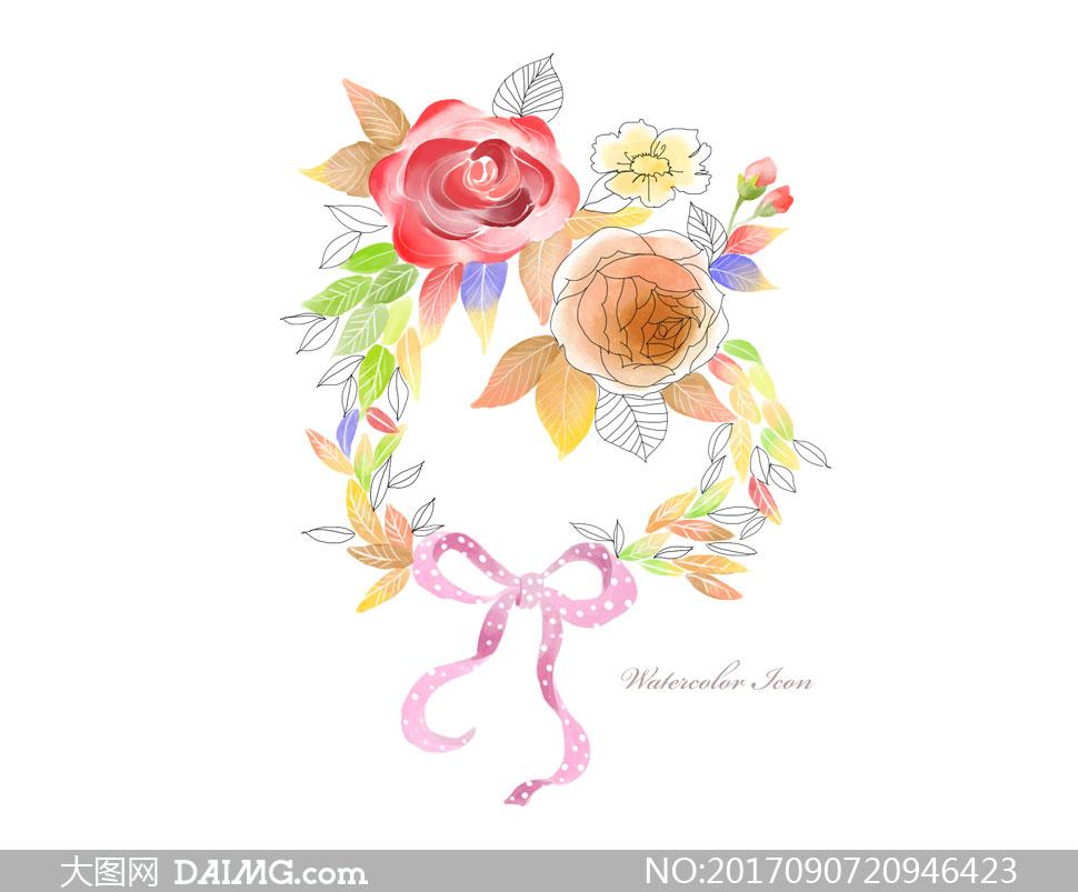 设计素材创意设计手绘插画水彩花朵鲜花树叶叶子线描白描玫瑰花蝴蝶结
