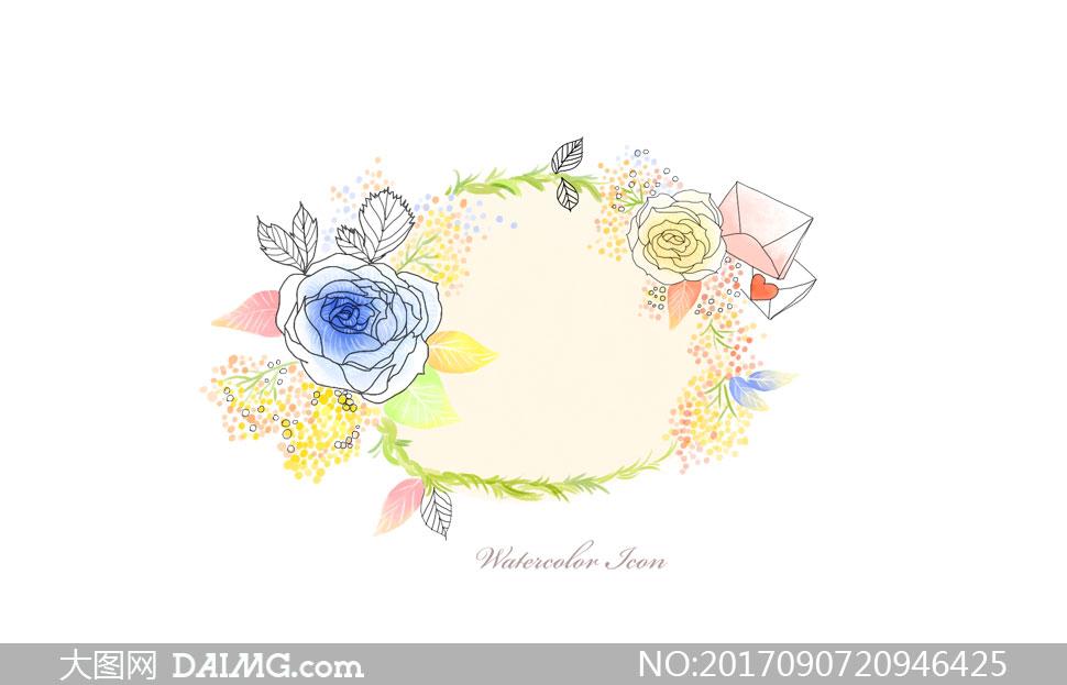 邮件与线描花朵边框等创意分层素材