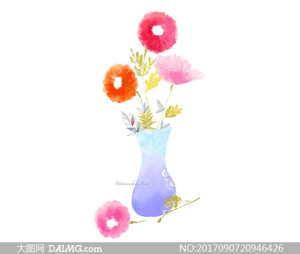 素材源文件设计素材创意设计手绘插画水彩插花花瓶鲜花花朵线描白描