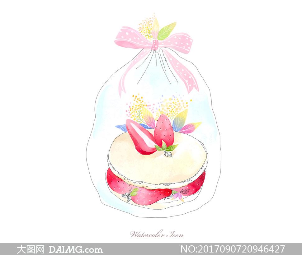 分层素材源文件设计素材创意设计手绘插画水彩叶子蝴蝶结草莓水果蛋糕