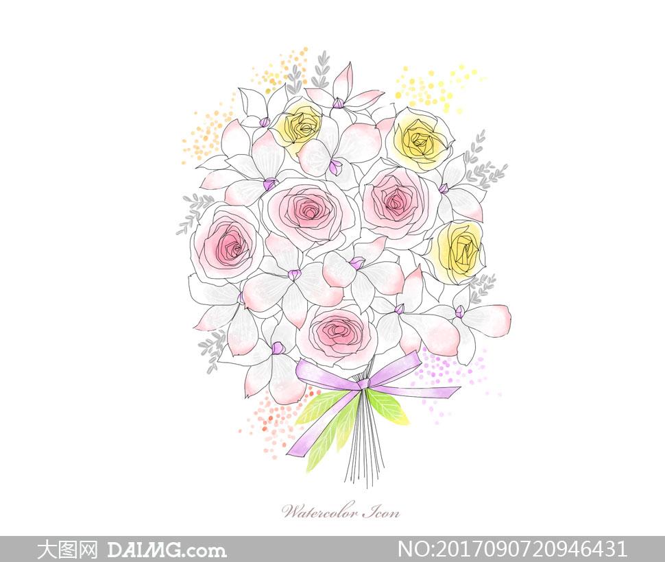 素材源文件设计素材创意设计手绘插画水彩花朵鲜花花束线描白描玫瑰花