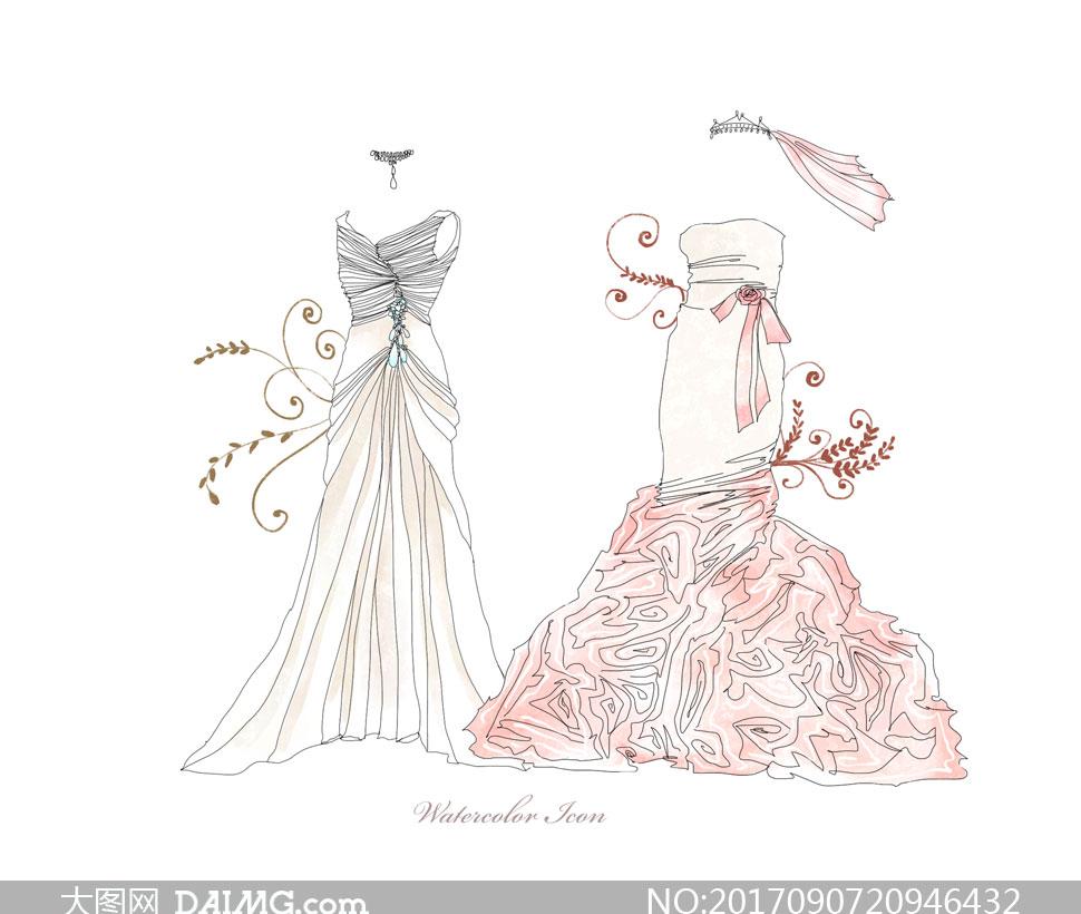 素材源文件设计素材创意设计手绘插画水彩花纹头纱项链婚纱礼服服饰