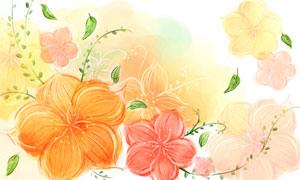 手繪風格水彩花朵創意設計分層素材