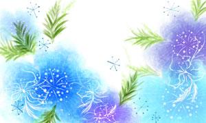 水彩潑墨與手繪風花朵創意分層素材