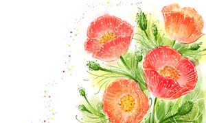 水彩手繪效果紅花綠葉植物分層素材