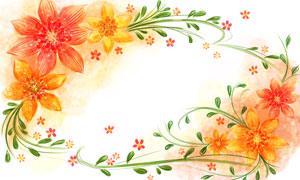 水彩潑墨花朵藤蔓邊框創意分層素材