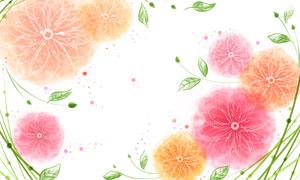 夢幻唯美效果花朵綠葉裝飾分層素材