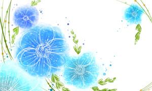 藤蔓與藍色的花朵創意設計分層素材