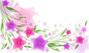 綠葉藤蔓與鮮艷的花朵創意分層素材