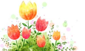 水彩墨點裝飾的郁金香插畫分層素材