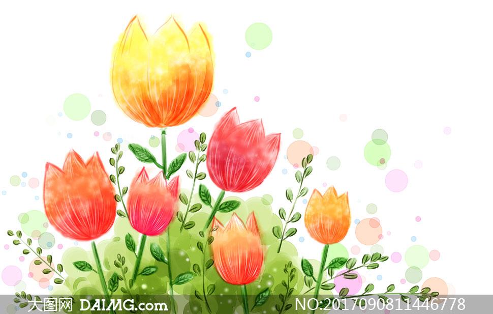 创意设计手绘水彩花朵郁金香墨迹墨痕泼墨墨点植物鲜花花卉唯美红色