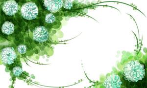 水彩花朵與藤蔓組成的邊框分層素材