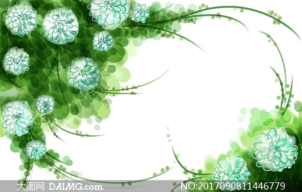 水彩花朵与藤蔓组成的边框分层素材
