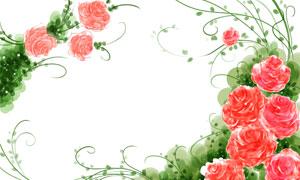 紅色花朵與藤蔓組成的邊框分層素材