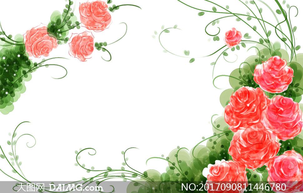 设计手绘水彩花朵藤蔓花藤边框鲜花绿色红色植物叶子绿叶 注意事项