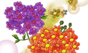 两束鲜艳花朵主题插画设计分层素材