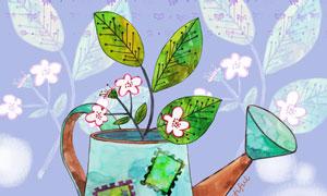 生长在洒水壶中的花卉创意分层素材