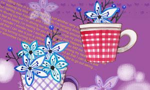 开在杯子里的花朵水彩插画分层素材