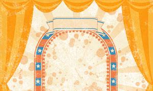 幕布装饰的舞台拱形门创意分层素材