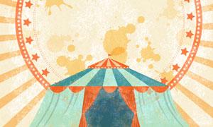 墨迹与马戏团的帐篷等创意分层素材