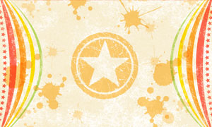 五角星图案与喷溅墨迹创意分层素材