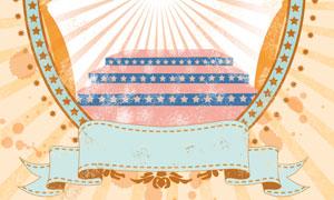 四射光芒装饰的舞台台阶等分层素材