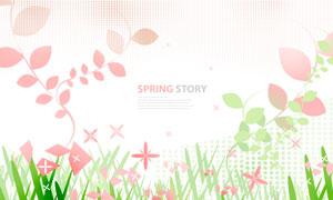 半调网屏与花草植物等创意分层素材