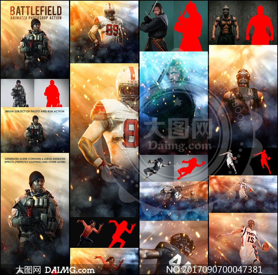 照片添加战争火花动画特效PS动作