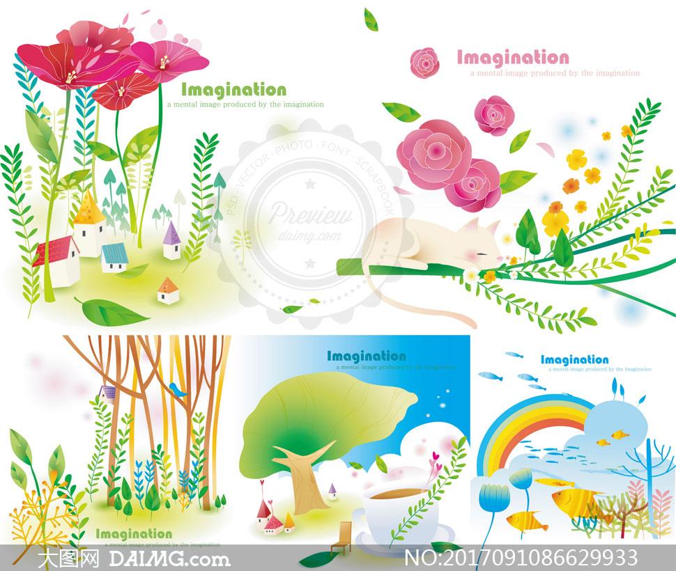 树木与大象等插画创意设计矢量素材
