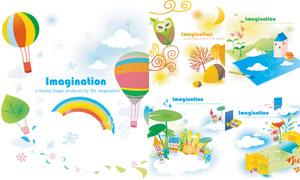 猫头鹰热气球与彩虹等创意矢量素材
