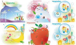 月牙彩虹与雪人等插画创意矢量素材