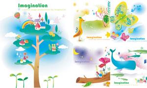树木蝴蝶与鲸鱼等插画创意矢量素材