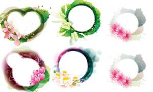墨迹花朵元素装饰边框设计矢量素材
